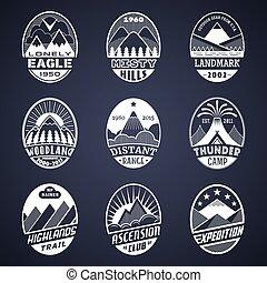 montagna, bianco, distintivo, set2