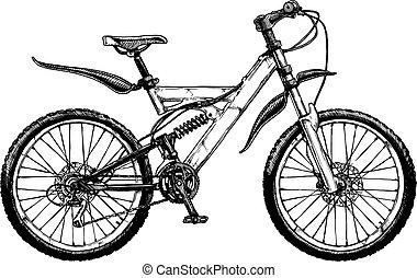montagna, bicicletta, illustrazione