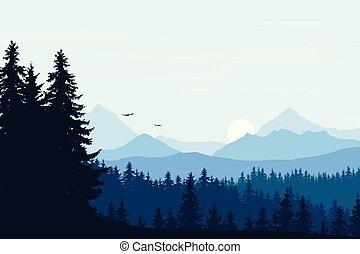 montagna blu, nubi, sole, cielo, illustrazione, realistico, foresta, vettore, salita, paesaggio