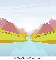 montagna blu, parco, cielo, acqua, foresta verde, paesaggio fiume