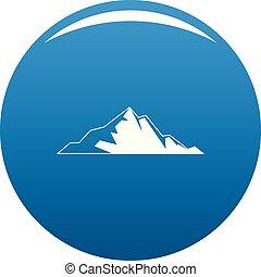 montagna blu, vettore, bello, icona