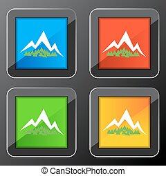 montagna, bottone, foresta