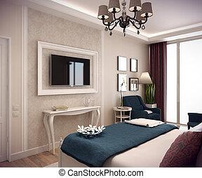 montagna, camera letto, interpretazione, 3d, casa