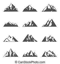 montagna, campeggio, icone, semplice, set., andando gita, theme., viaggiare, vettore, nero, disegno, bianco, o, templates.