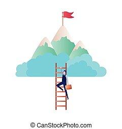 montagna, carattere, avatar, scala, uomo affari