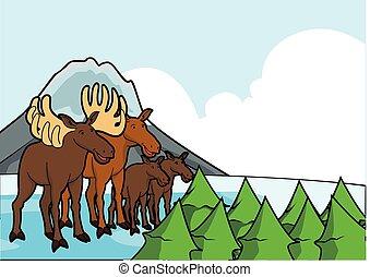 montagna, cervo, scena, ghiaccio