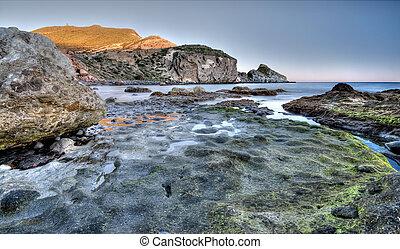 montagna, colorito, costa, mare, roccia, crepuscolo, paesaggio