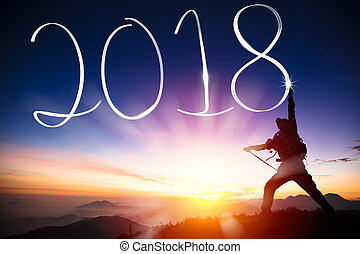 montagna, concept., 2018, anno, uomo nuovo, disegno, felice