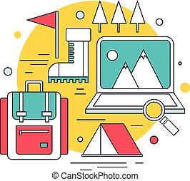 montagna, concetto, andando gita, campeggio, icone, viaggiare, moderno, rampicante, linea, turismo