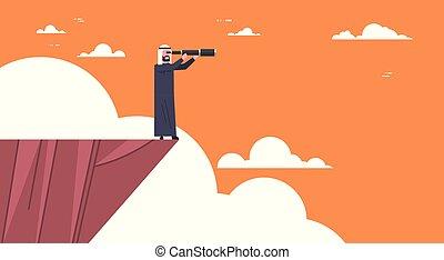 montagna, concetto, telescopio, affari, successo, cima, opportunità, arabo, stare in piedi, uomo affari, dall'aspetto, visione