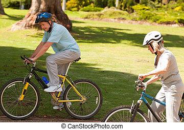 montagna, coppia, biking, esterno, pensionato