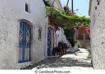 montagna, corfu, isola, afionas, tradizionale, villaggio, cityscape, (greece)