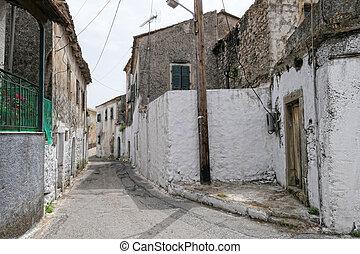montagna, corfu, isola, (greece), tradizionale, villaggio, cityscape, liapades