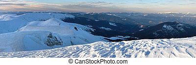 montagna, crepuscolo, inverno, panorama