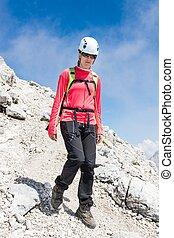 montagna, discendere, arrampicatore, femmina, traccia, segno, scia