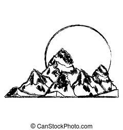 montagna, disegno, isolato, sole