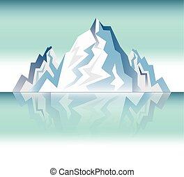 montagna, disegno, paesaggio, nevoso