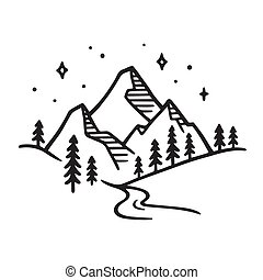 montagna, disegno, paesaggio