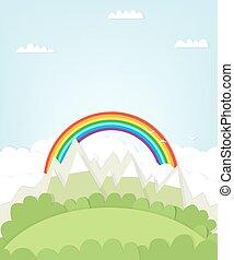 montagna, disinserimento, rainbow., paesaggio