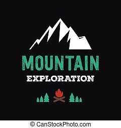 montagna, distintivo, illustrazione