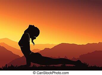 montagna, donna, silhouette, -, illustrazione, fondo., vettore, yoga