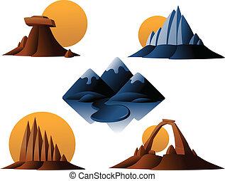 montagna, e, deserto, icone