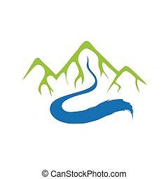 montagna, e, fiume, vettore, logotipo