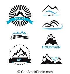 montagna, elementi, set., vettore, concetti, logotipo, stickers., distintivo, marca, identità