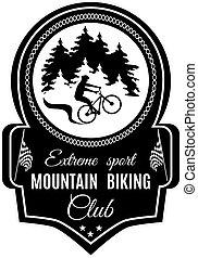 montagna, emblema, club, vettore, sport, biking, estremo