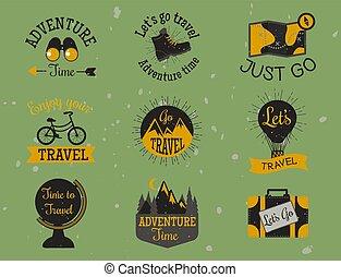montagna, esterno, andando gita, campeggio, viaggiare, etichette, mano, vettore, picco, disegnato, rampicante, estremo, tesserati magnetici, illustration.