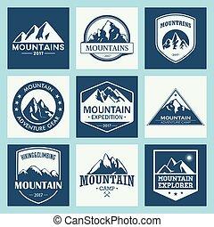 montagna, esterno, avventure, viaggiare, set, logotipo