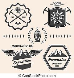 montagna, esterno, emblema, andando gita, simbolo, collezione, etichetta