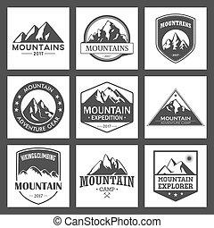 montagna, esterno, organizzazioni, andando gita, icone, set., etichette, avventure, viaggiare, leisure., logotipo, rampicante, eventi, turismo, o, campeggio