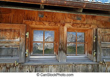 montagna, finestra, vecchio, riflessione