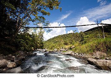 montagna, fiume, con, appendere, ponte