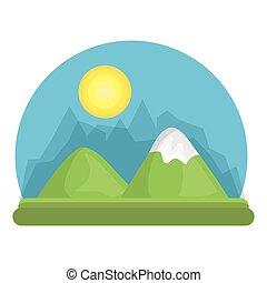 montagna, fiume, disegno, paesaggio verde