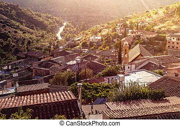 montagna, gourri, distretto, tradizionale, villaggio, presto, cipro, nicosia, morning.