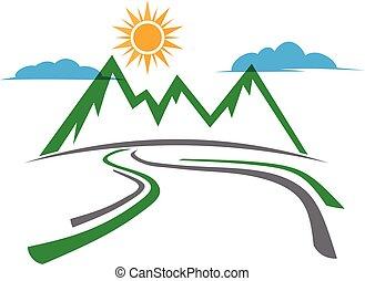 montagna, grafico, paese, vettore, disegno, logo., strada