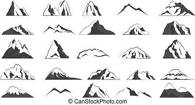 montagna, grigio, hills., shapes., collezione, alto
