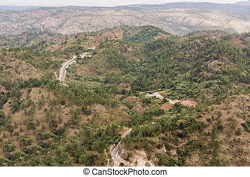 montagna, honduras, centrale, strada, paesaggio
