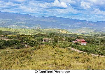 montagna, honduras, coa, arriba., villaggio, centrale, paesaggio