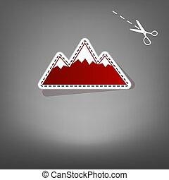 montagna, illustration., grigio, segno, carta, applique, scissors., fondo, uggia, icona, rosso, vector.
