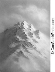 montagna, illustration., set., mano, vettore, disegnato, sketch.