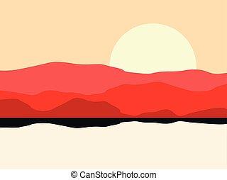 montagna, illustrazione, silhouette., caldo, vettore, disertare paesaggio