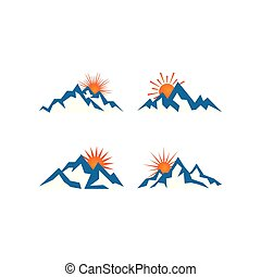 montagna, illustrazione, vettore, disegno, sagoma, logotipo