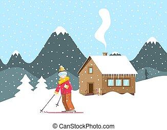 montagna, inverno legno, neve, holliday, cottage, paesaggio, sciatore