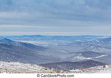 montagna, inverno, paesaggio.