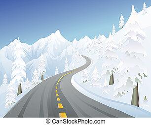 montagna, inverno, strada