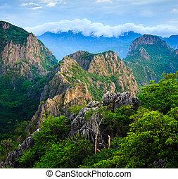montagna, khao, alba, dang, roi, yod, parco, tailandia, sam, picco, nazionale