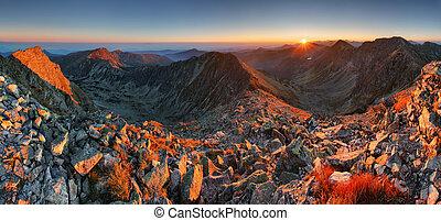 montagna, ladnscape, sole, alto, autunno, panorama